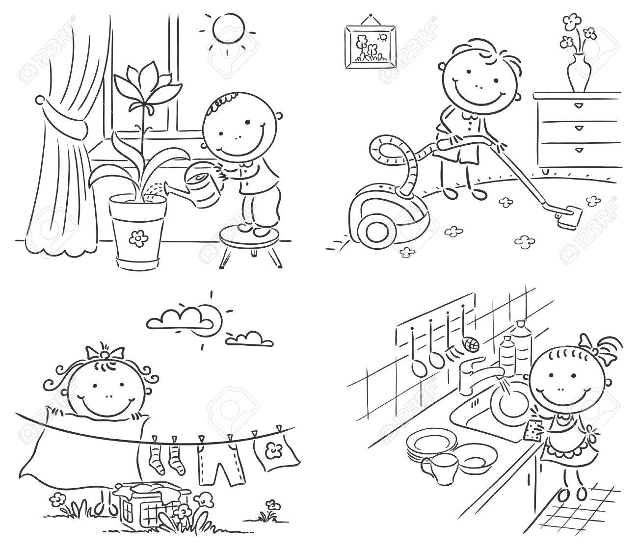 Glückliche Kinder Helfen Ihren Eltern Bei Der Hausarbeit Lizenzfrei