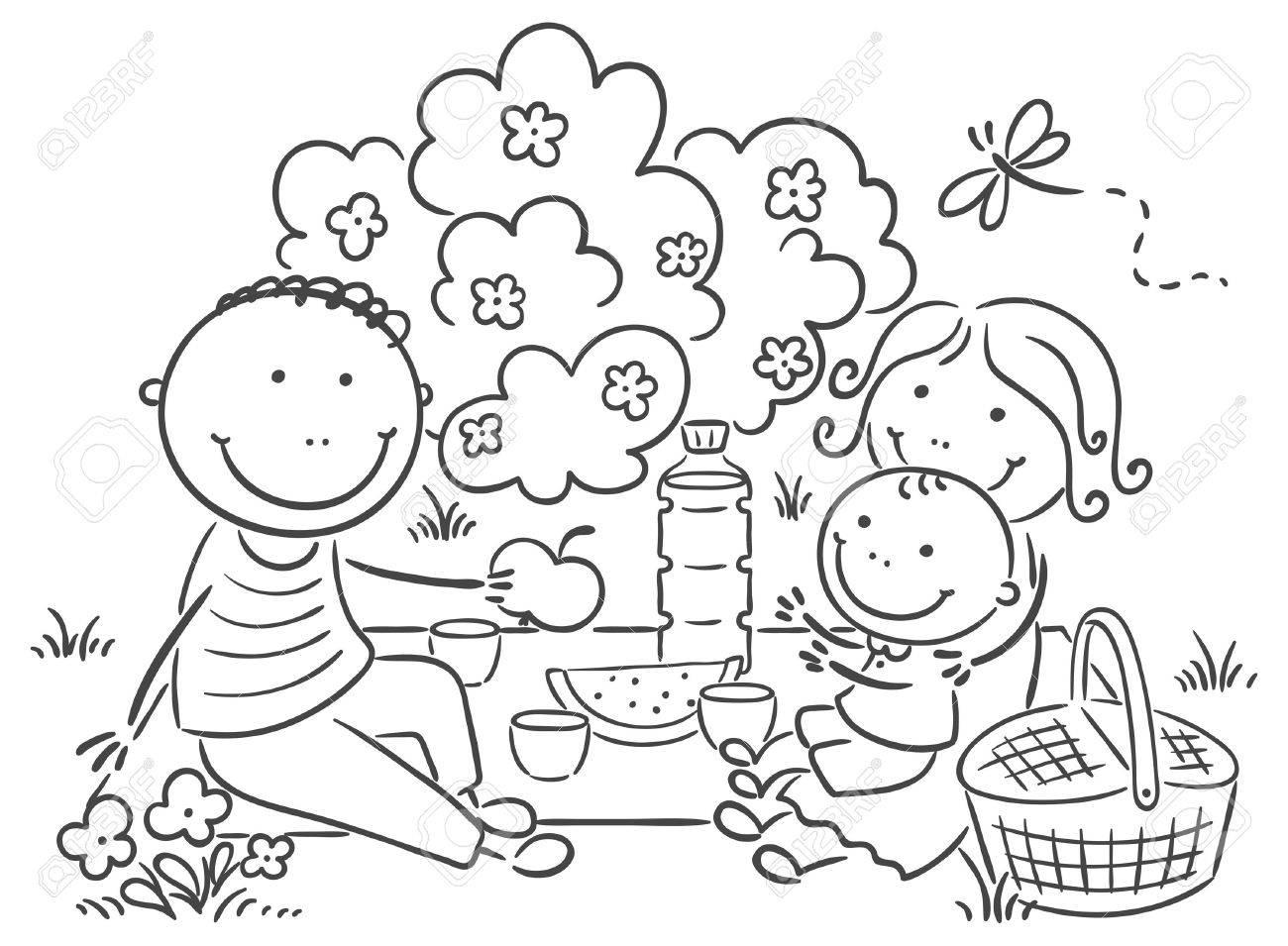 Cartoon Family Having Picnic Outdoors Royalty Free Cliparts Vectors