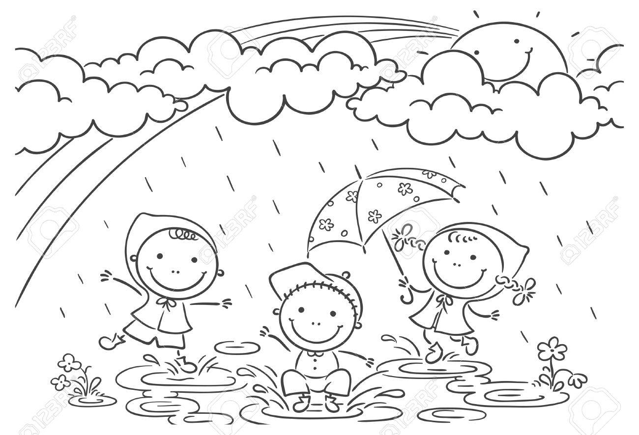 happy kids playing in the rain royalty free cliparts vectors and stock illustration image 31895459 happy kids playing in the rain
