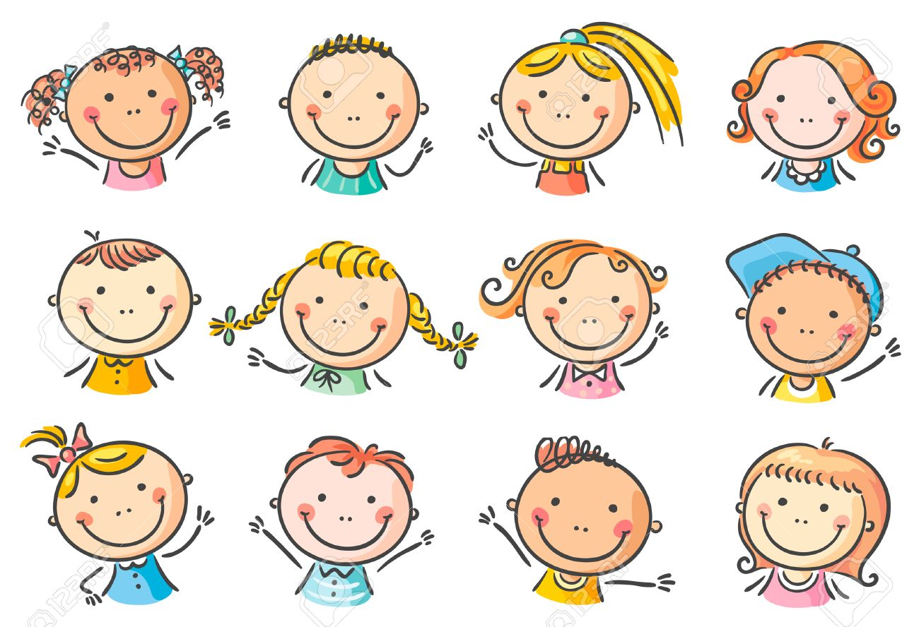 set of 12 happy cartoon kids faces royalty free cliparts vectors rh 123rf com happy cartoon faces clip art happy cartoon faces clip art
