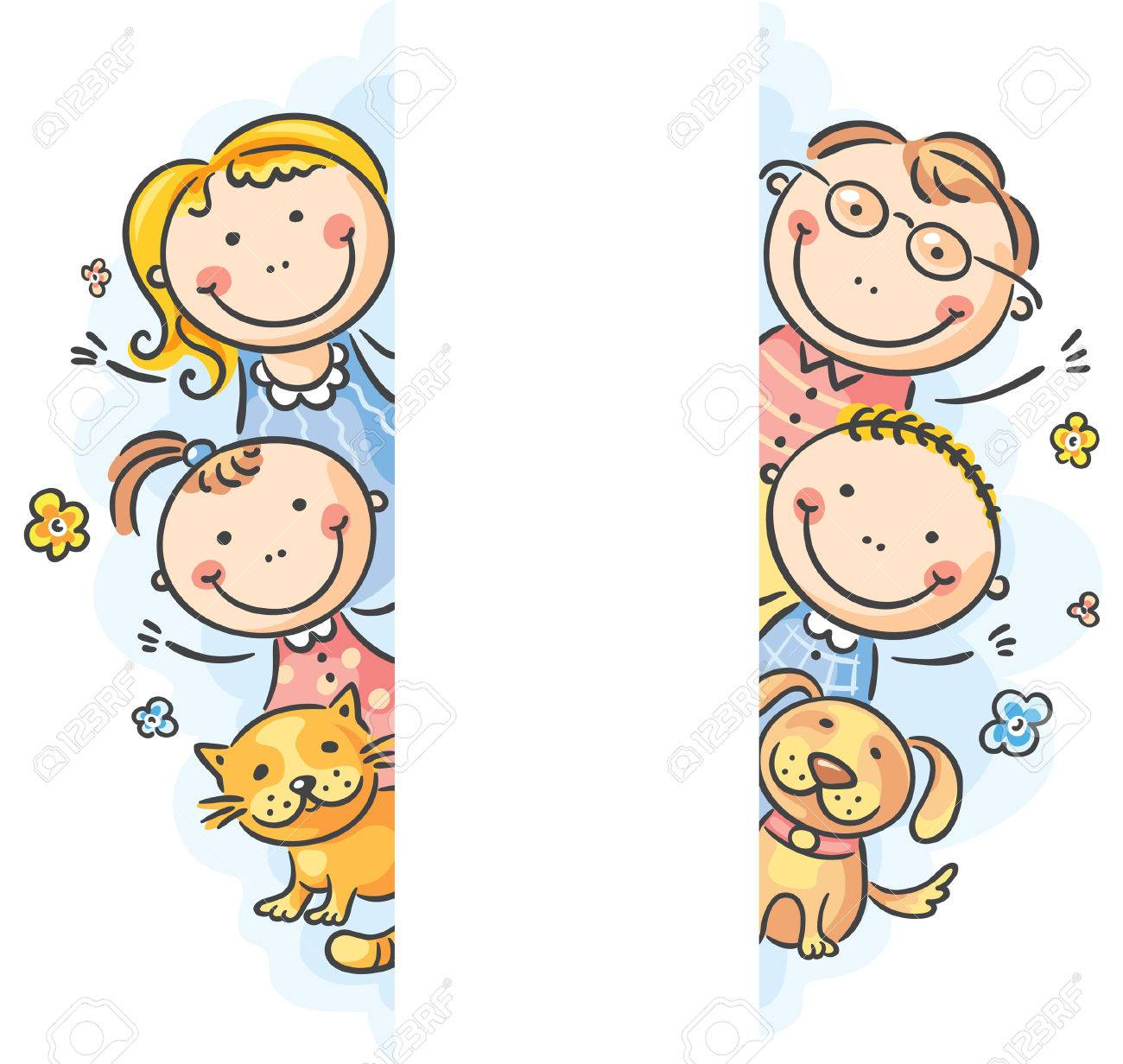 Family Frame Borders With A Copy Space Stock Vector