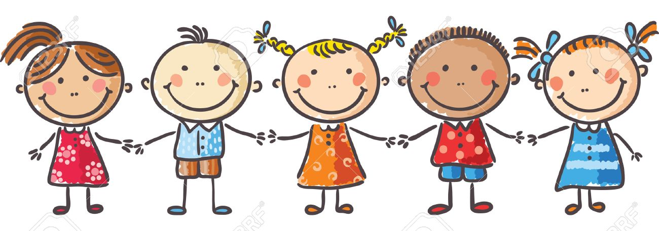five little kids holding hands royalty free cliparts vectors and rh 123rf com cartoon holding hands pictures cartoon holding hands drawing