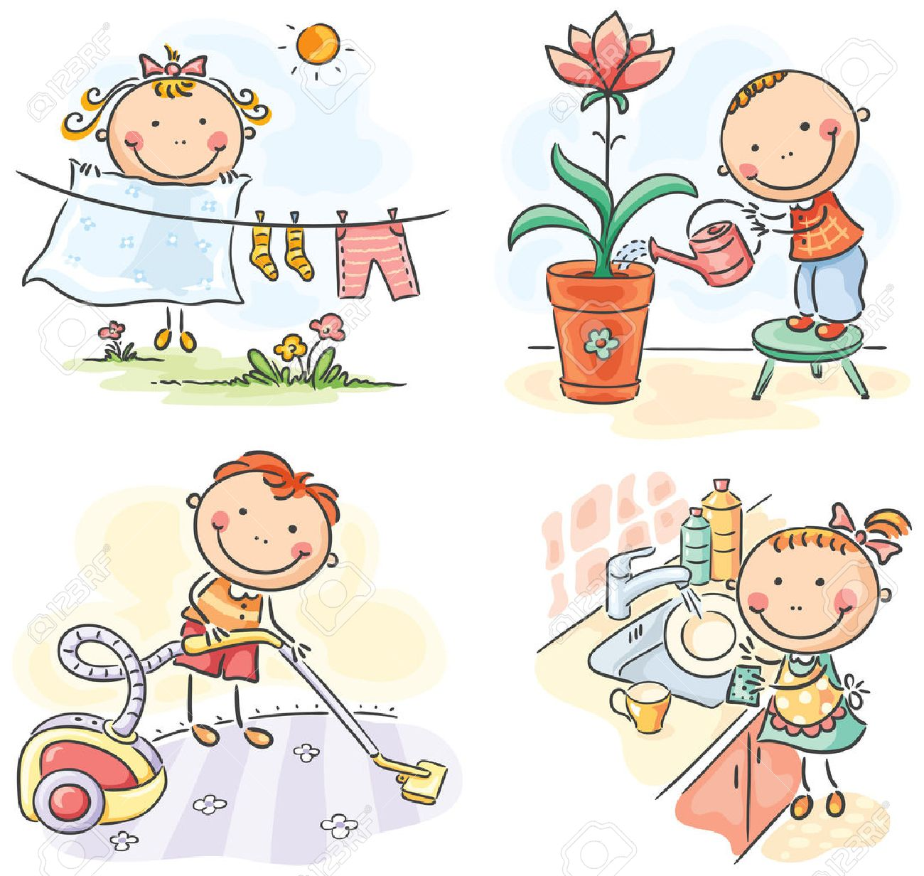 kids helping their parents with the housework royalty free cliparts