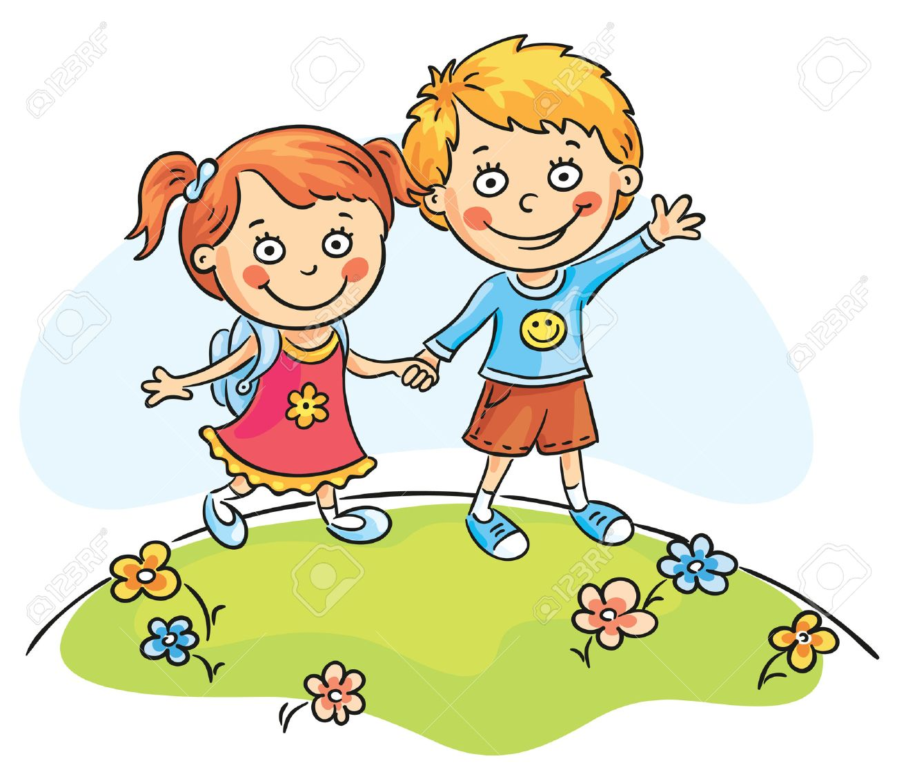 happy cartoons kids walking outdoors stock vector 31896432