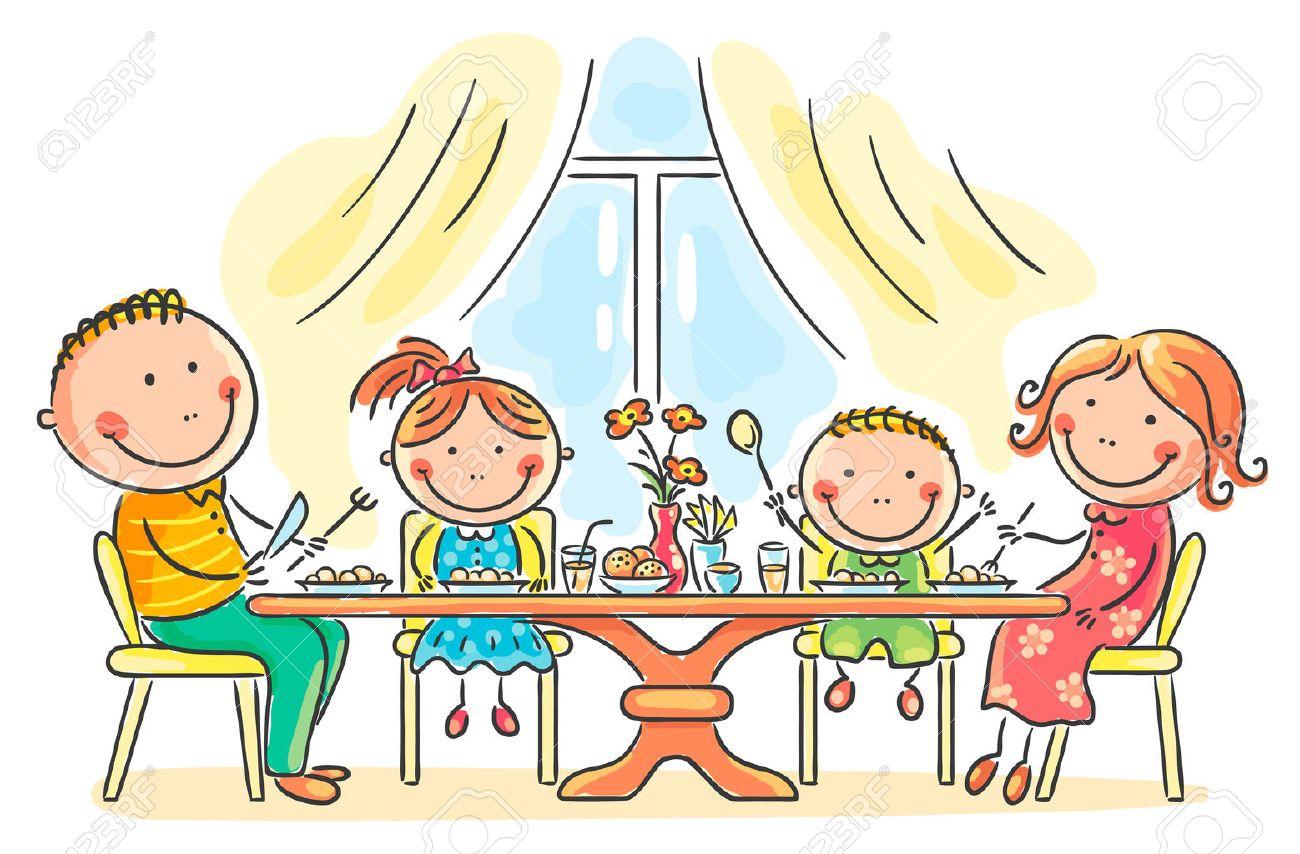 一緒に食事を持っている漫画家族のイラスト素材ベクタ Image 31993568