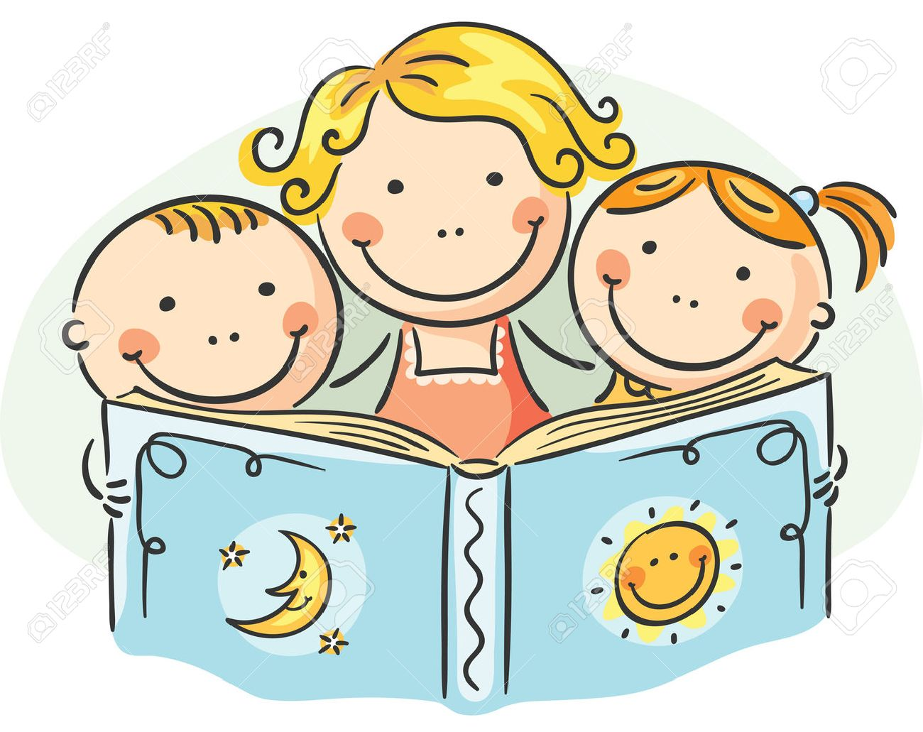 happy mother and kids reading together royalty free cliparts