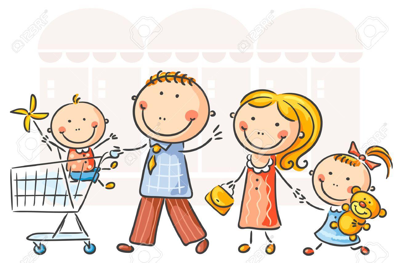 Familia de cuatro haciendo compras Foto de archivo - 31908293