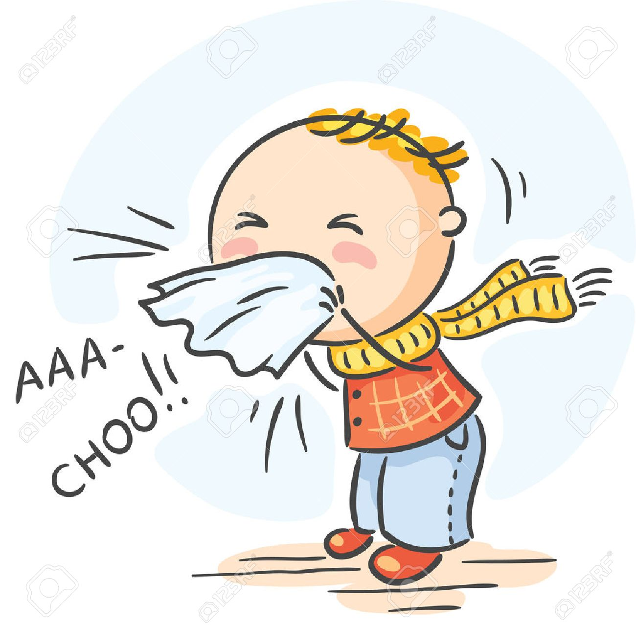 Flu  >> Cartoon Child Has Got Flu And Is Sneezing Royalty Free Cliparts