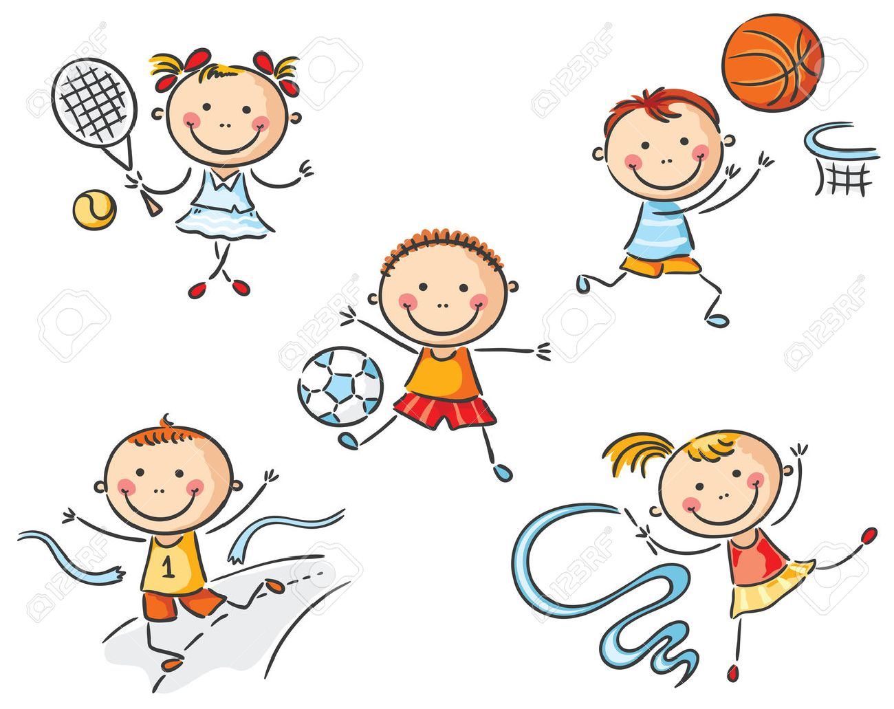 Happy Kids Going In For Sport Royalty Free Cliparts Vectors And Stock Illustration Image 31908369