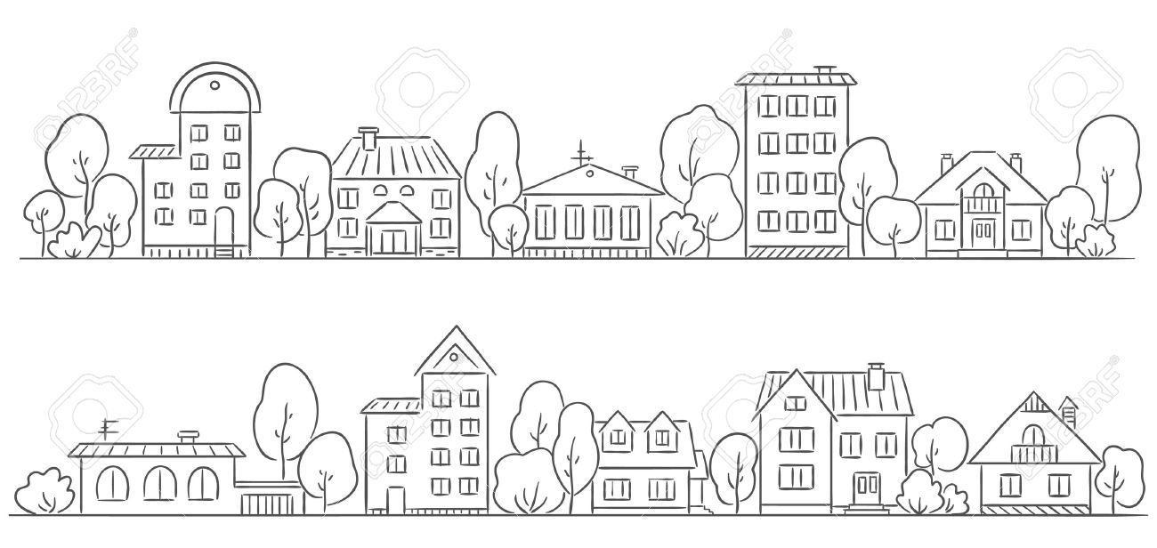Trees and houses in a row for your frameborder stock vector 31908230