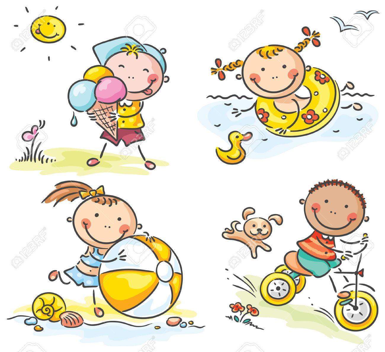 Exceptionnel Été Activités Pour Les Enfants Heureux En Plein Air Clip Art  VA78
