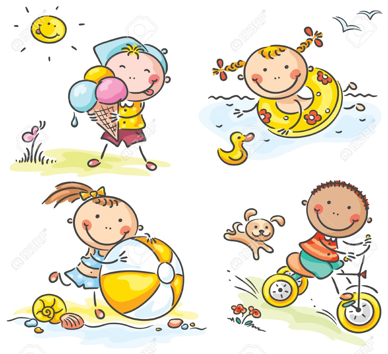 Summer Happy Kids Activities Outdoors Royalty Free Cliparts Vectors