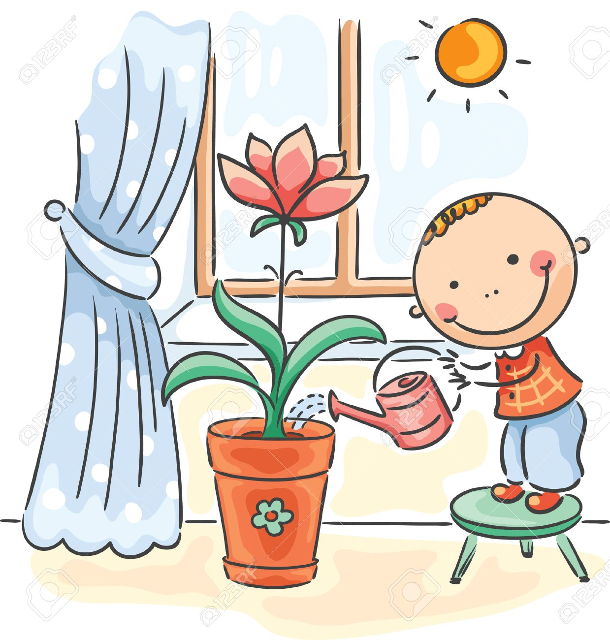 happy child helping parents with the housework - watering flowers