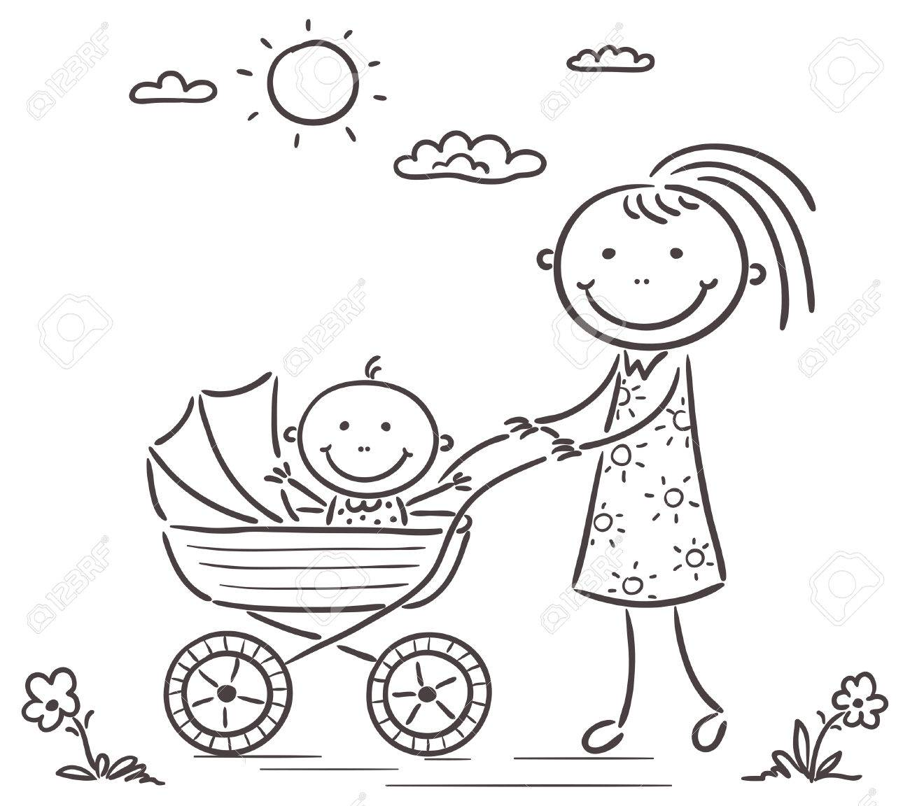 Mother And Baby On A Walk Black And White Royalty Free Cliparts Vectors And Stock Illustration Image 32334257