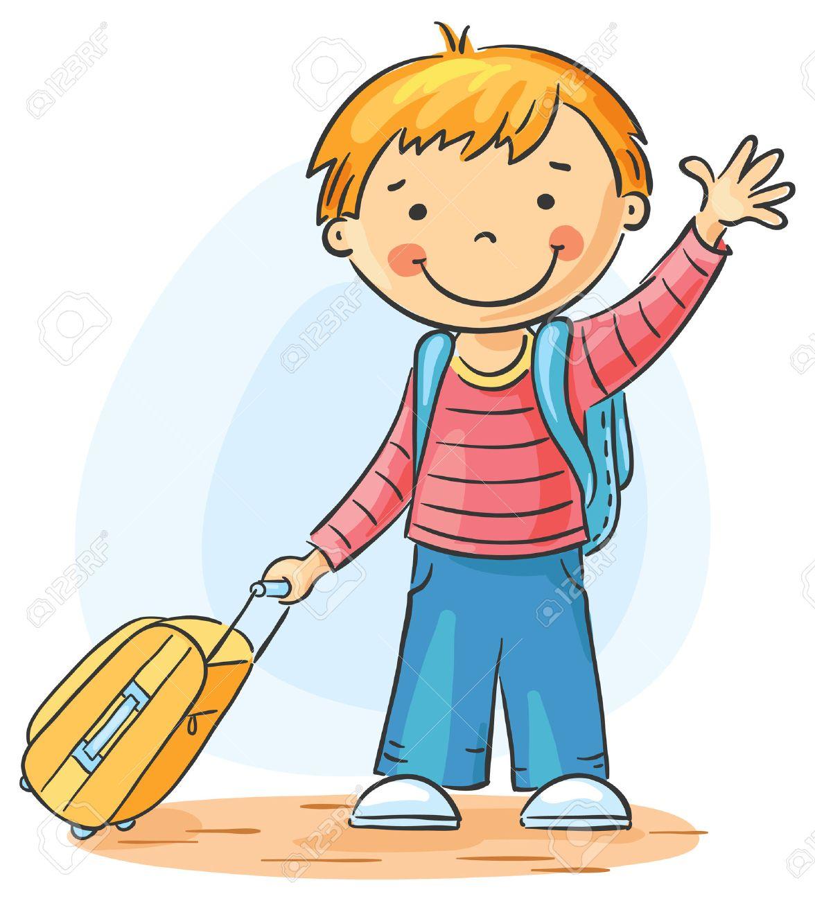 Kind Mit Einem Koffer Und Rucksack Verlässt Und Zum Abschied ...