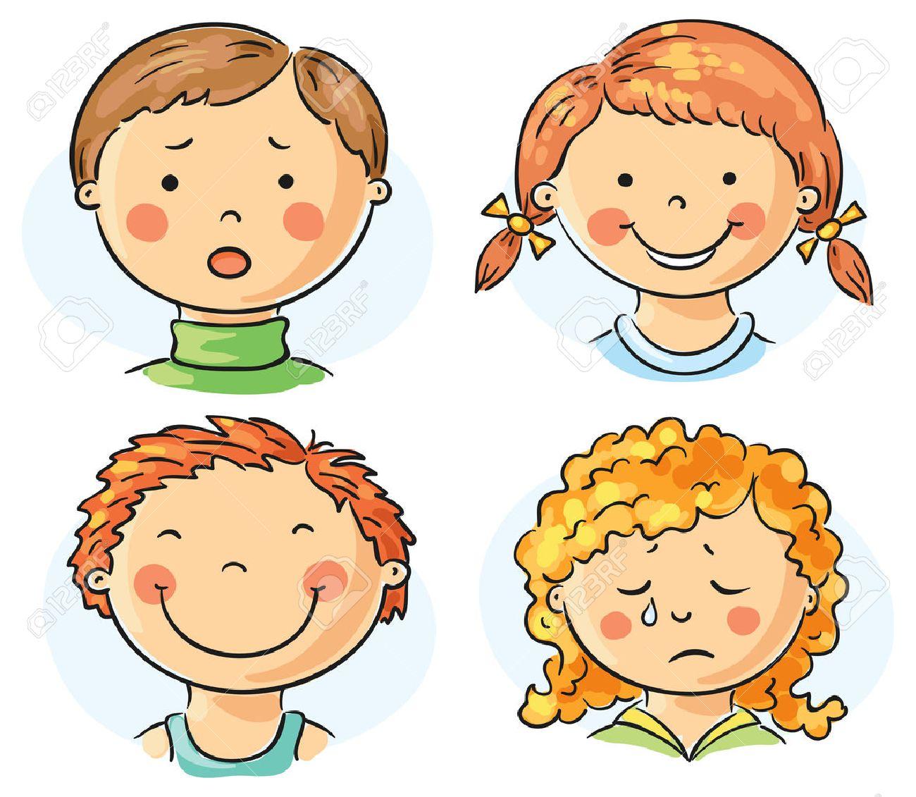 Conjunto De 4 Niños De Dibujos Animados Se Enfrenta Con Diferentes