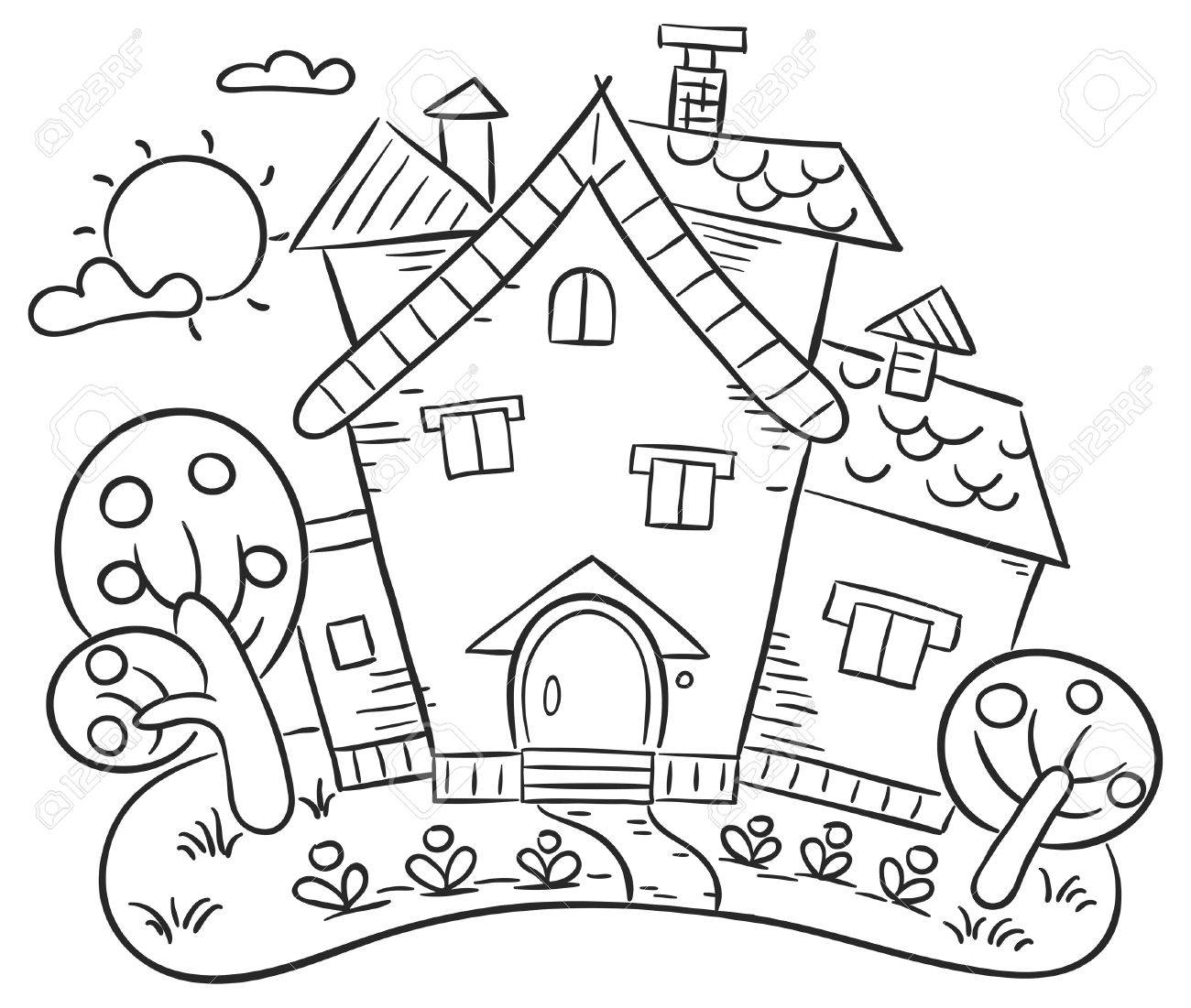 Stylized Countryside House With A Garden Outline Royalty Free Cliparts Vectors And Stock Illustration Image 34050496
