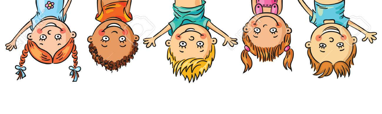 Frame With Kids Hanging Upside Down Stock Vector