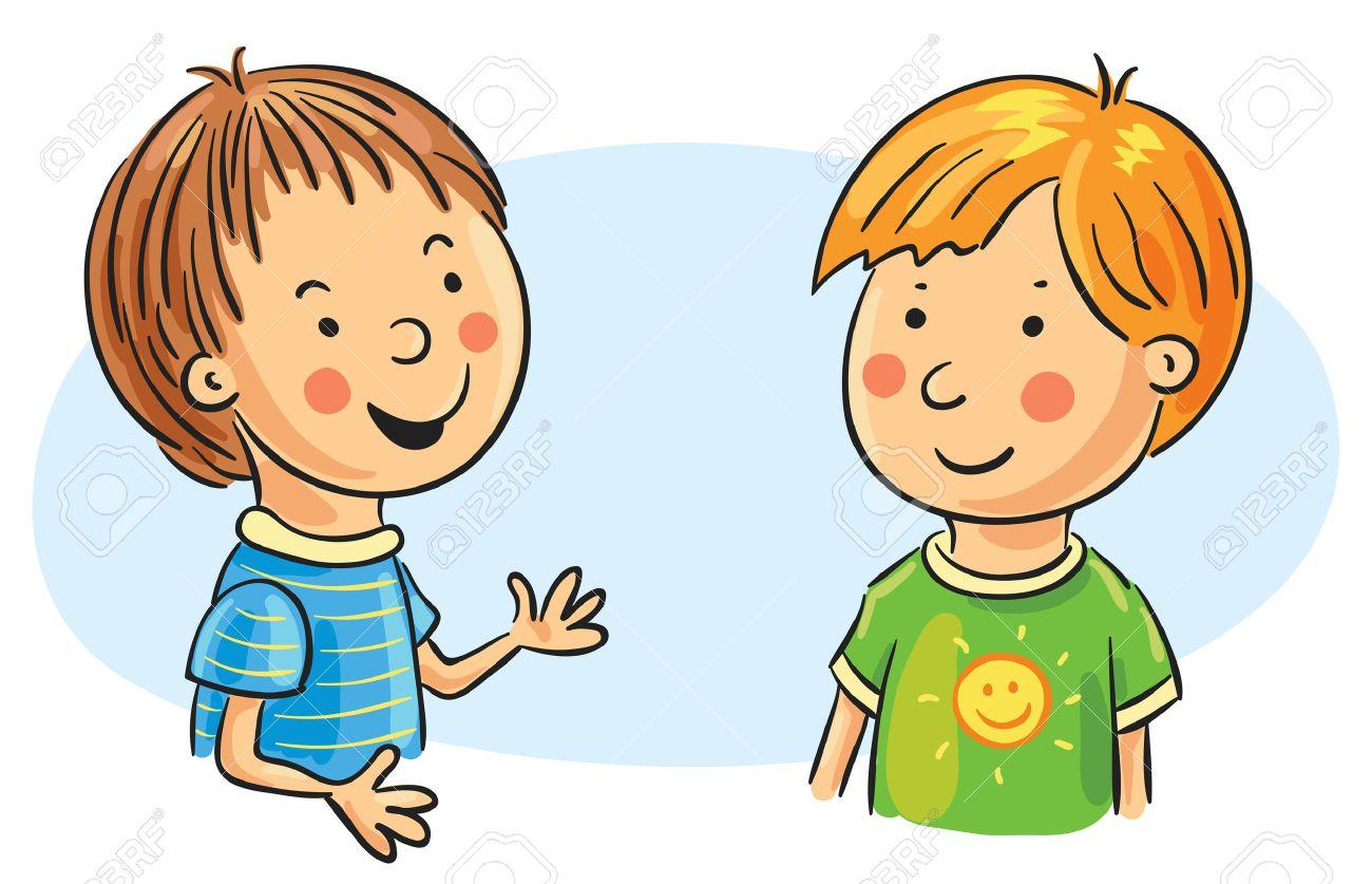 Two Kids Talking Clipart
