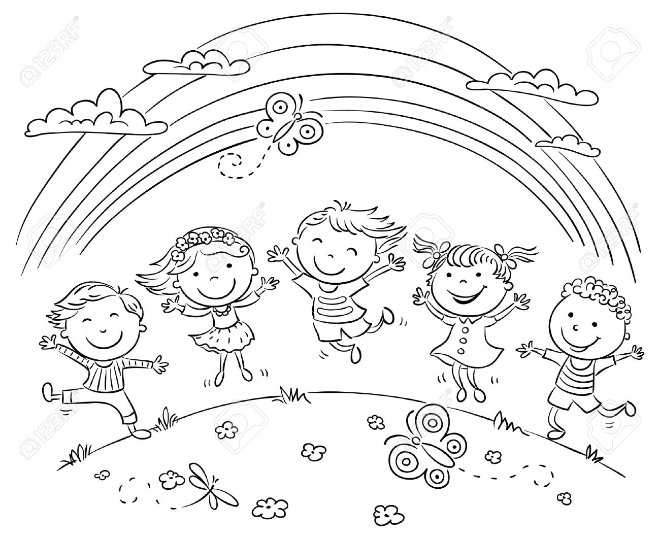 kids jumping with joy on a hill under rainbow, black and white