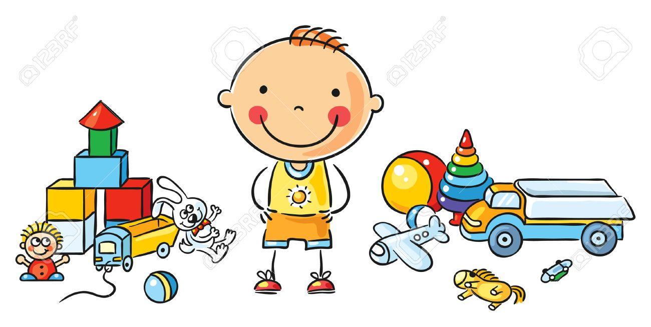 Una JuguetesAislado El De Gran Animados Pequeño Dibujos Con Niño Cantidad JTK1clF3