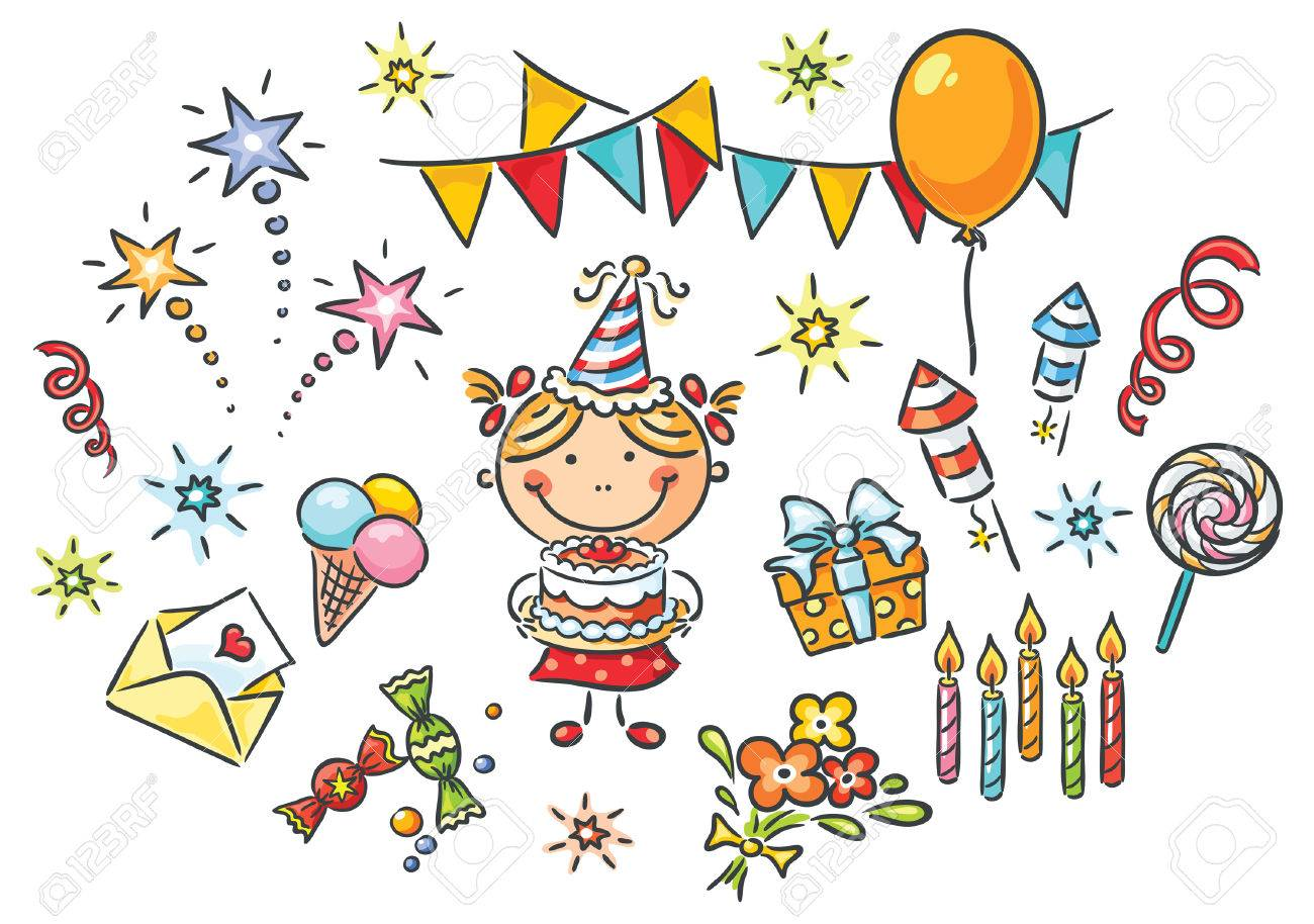 Little Girl Having Birthday Plus A Lot Of Party Things Stock Vector