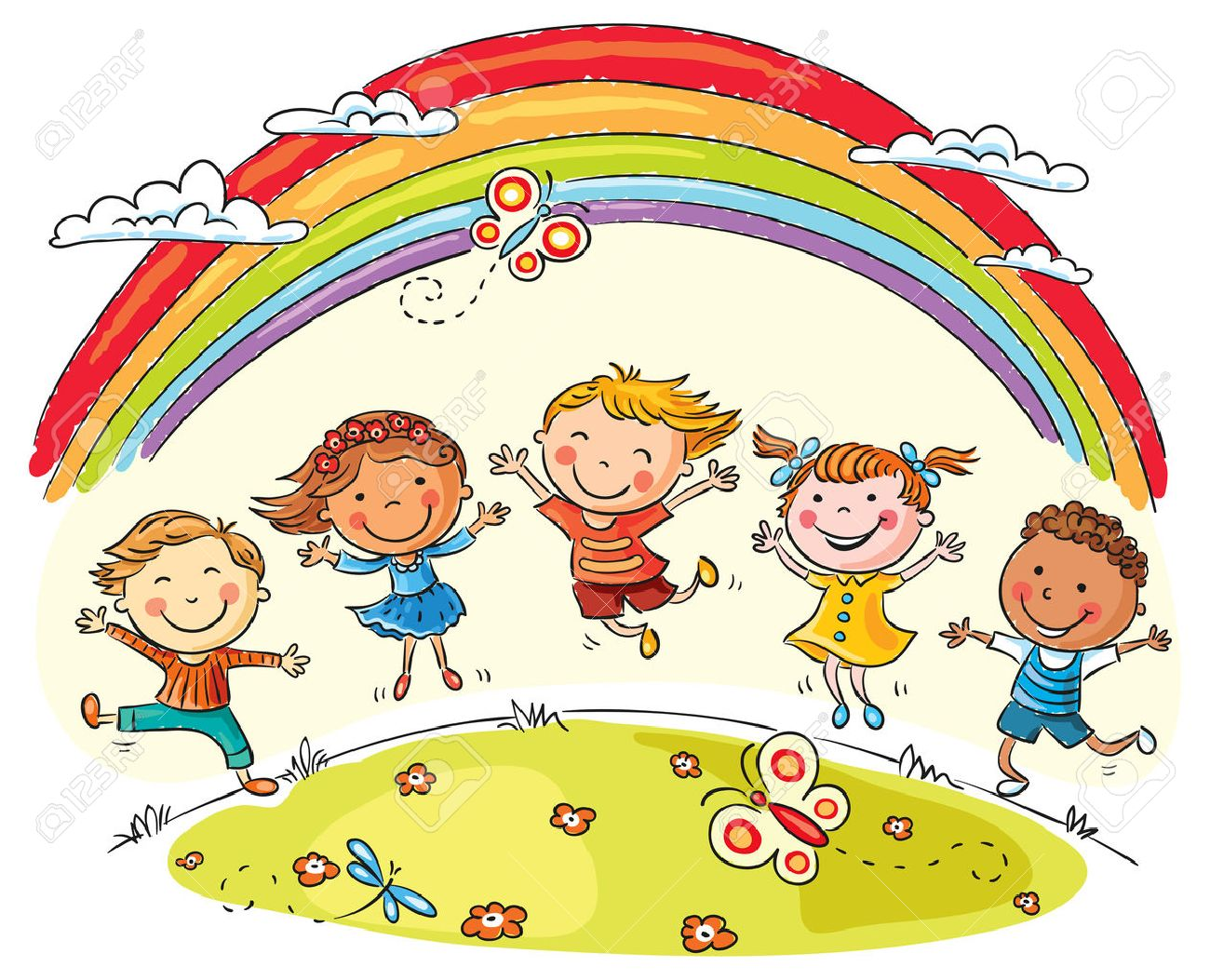 Kids Jumping With Joy On A Hill Under Rainbow, Colorful Cartoon ...