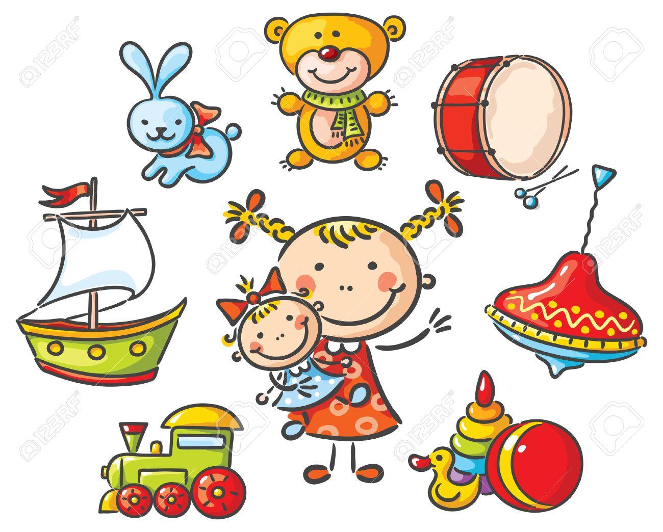 banque dimages petite fille avec un ensemble de jouets de dessins anims