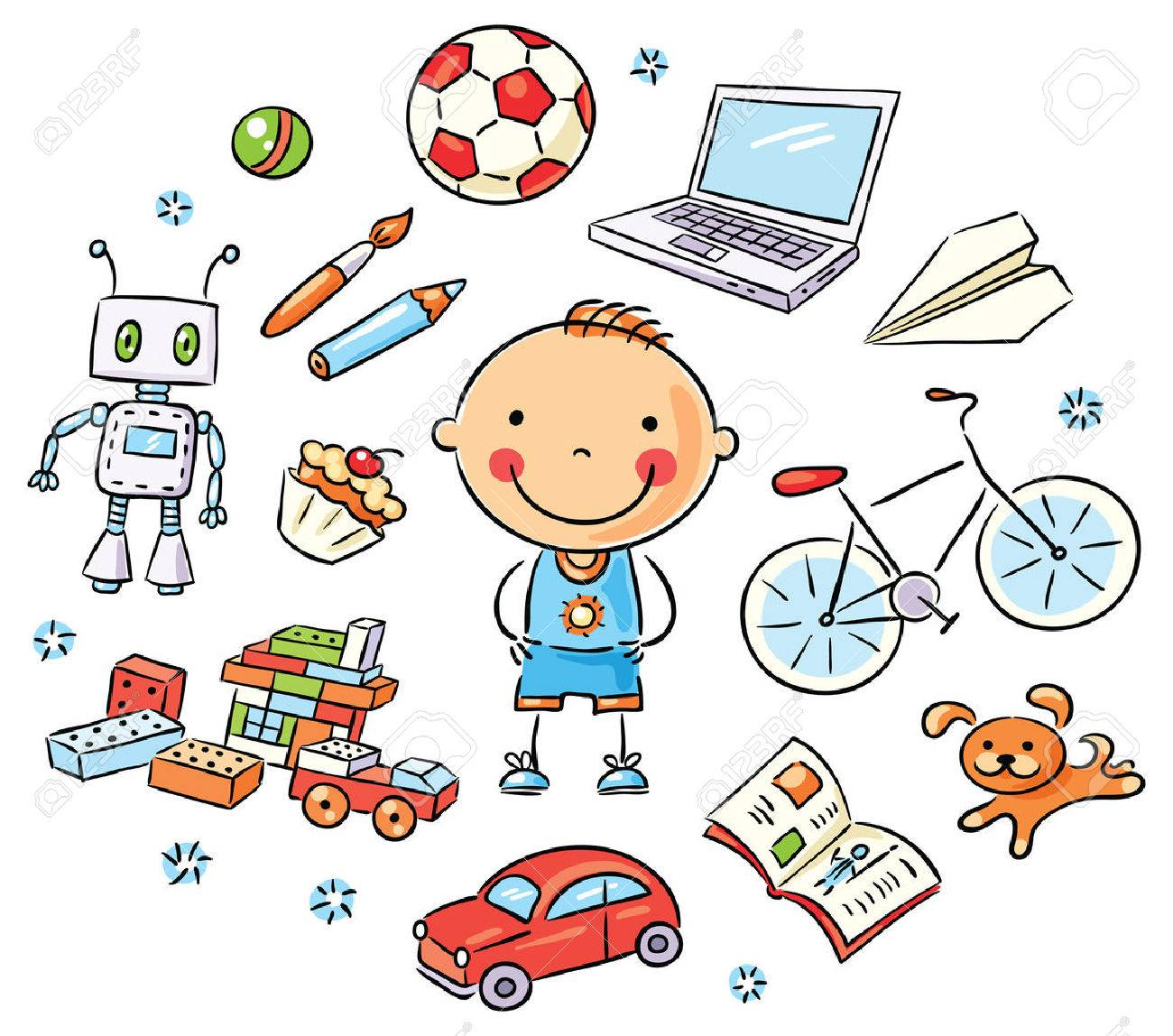 hobbies cartoon images stock pictures royalty hobbies hobbies cartoon boy and his interests set toys books sweets computer