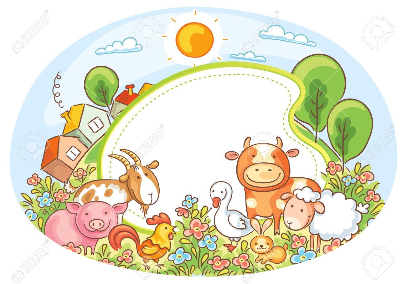 Marco Oval Con Animales De Granja, Casas, árboles Y Flores ...