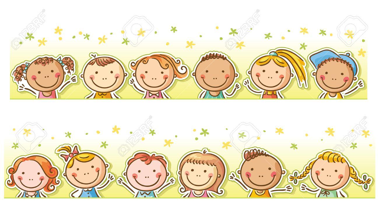 Border-Rahmen Mit 12 Glücklich Cartoon-Kinder Lizenzfrei Nutzbare ...