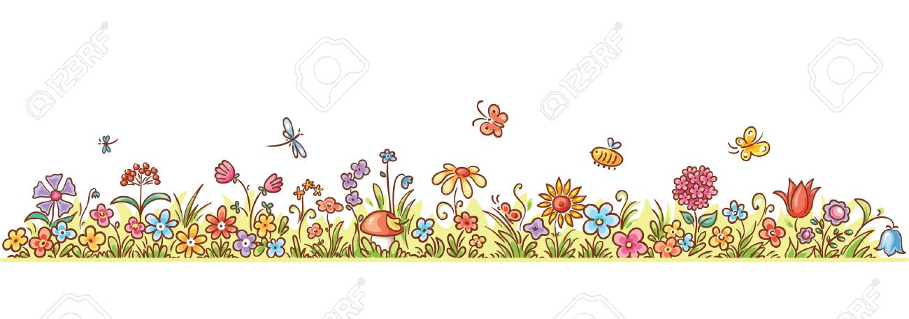 Colorful Flower Border With Lots Of Cartoon Flowers Grass And Butterflies No Gradients Stock