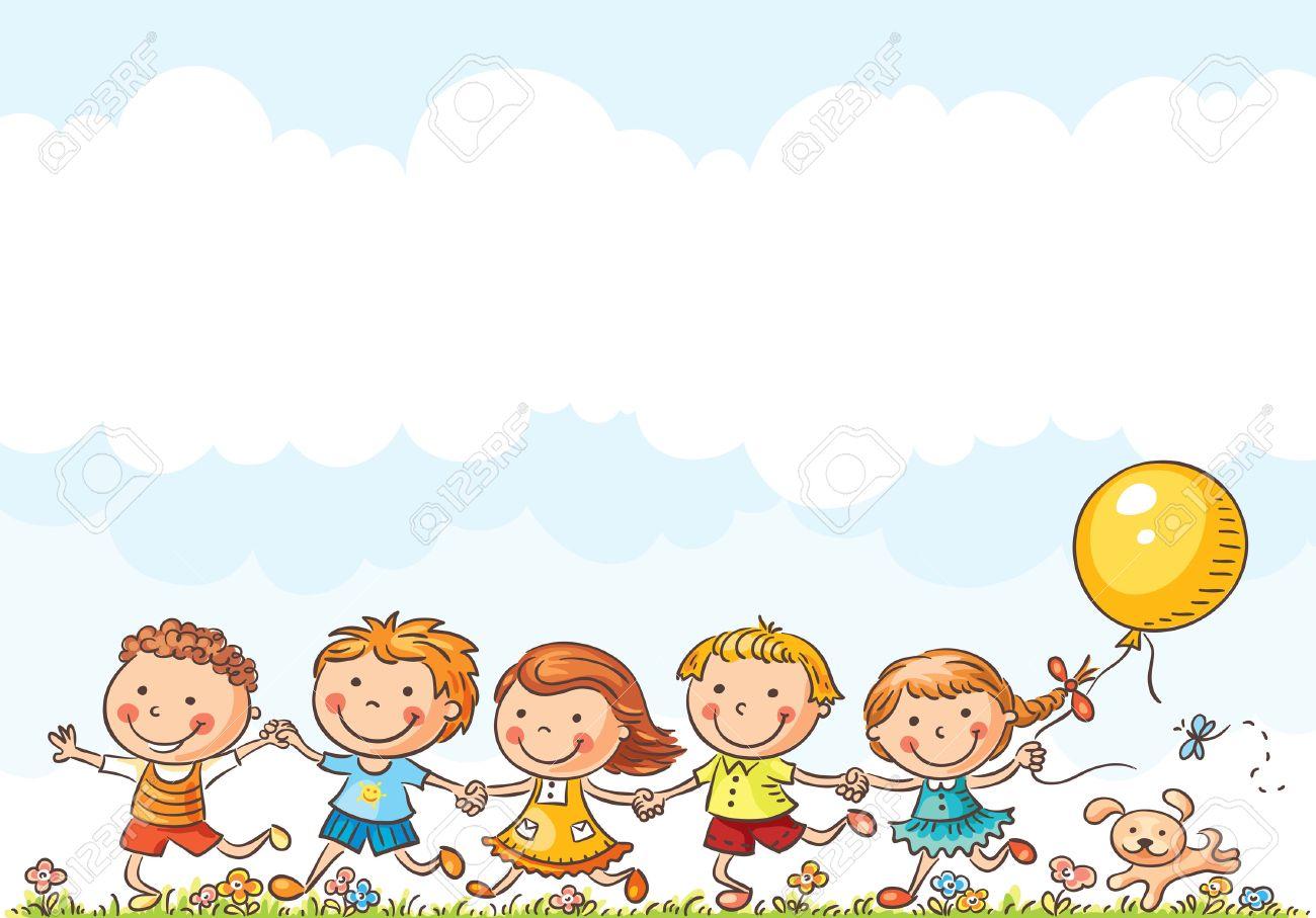 Happy cartoon kids running outdoors on a summer day - 36761177