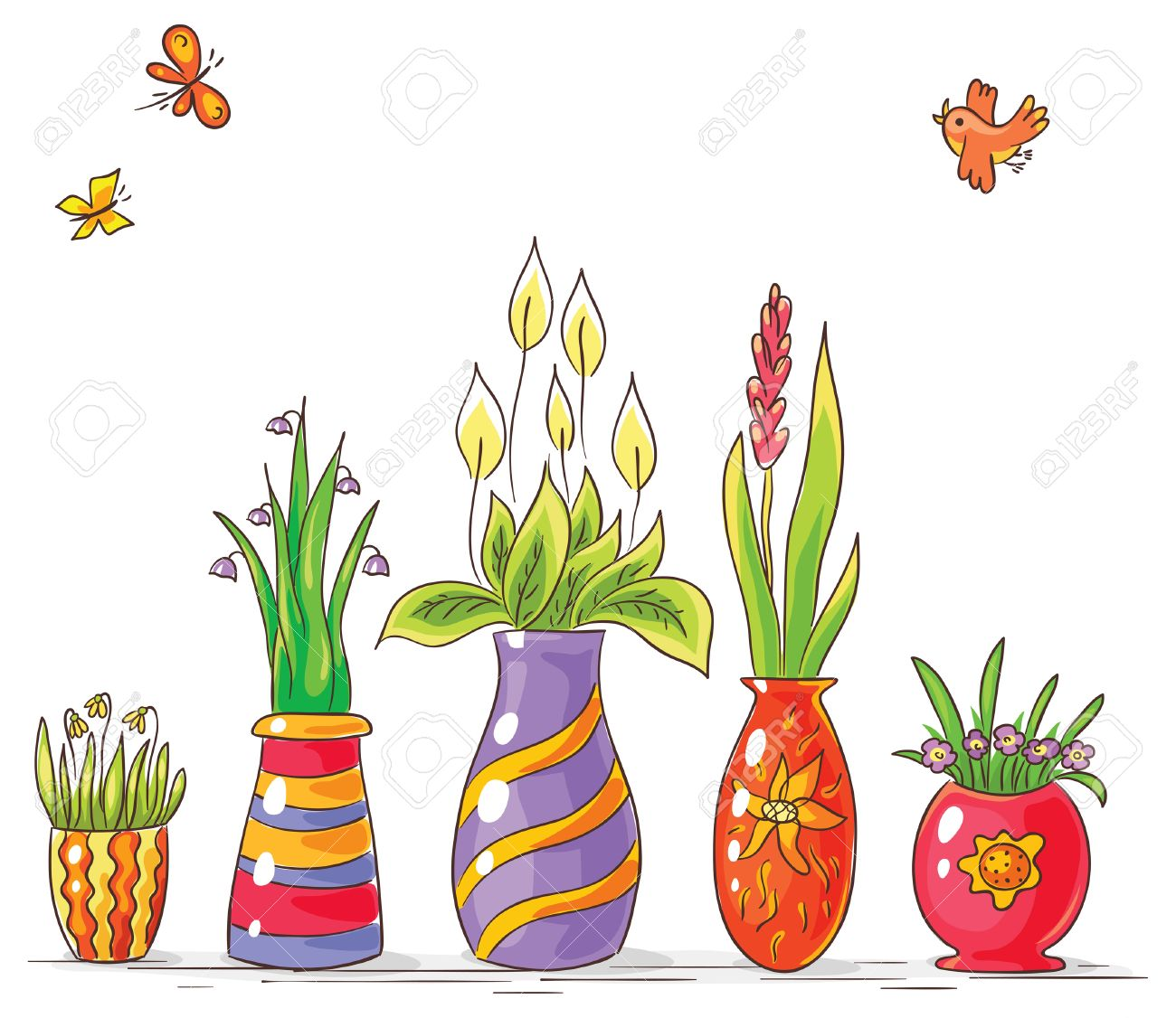 dibujo de jarrones con flores de colores en una fila no degradados foto de archivo