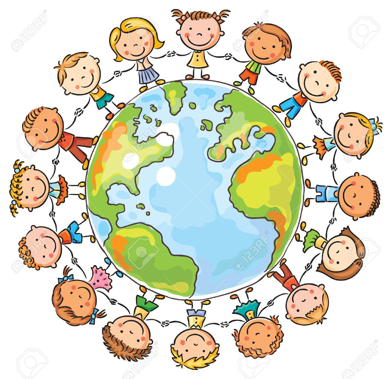 Dibujos Animados Happy Niños Alrededor Del Mundo Como Un Símbolo De La Paz O De La Comunicación Global