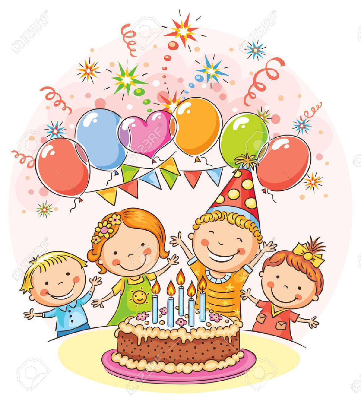 Kids Birthday Party With A Big Cake And Colorful Balloons No Gradients Stock Vector