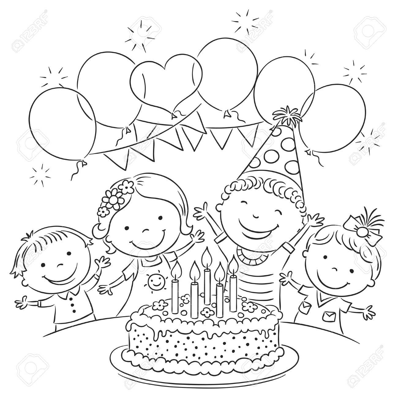 Kindergeburtstag Party Mit Einem Grossen Kuchen Und Bunten