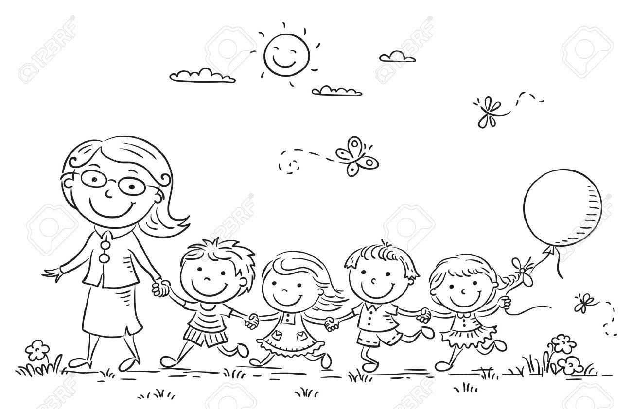 Niños De Dibujos Animados Y Su Profesor En Una Caminata En El Jardín