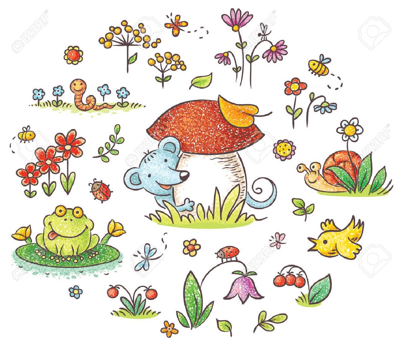 Hand Gezeichnete Blumen, Insekten Und Tiere Für Kinder Entwürfe ...