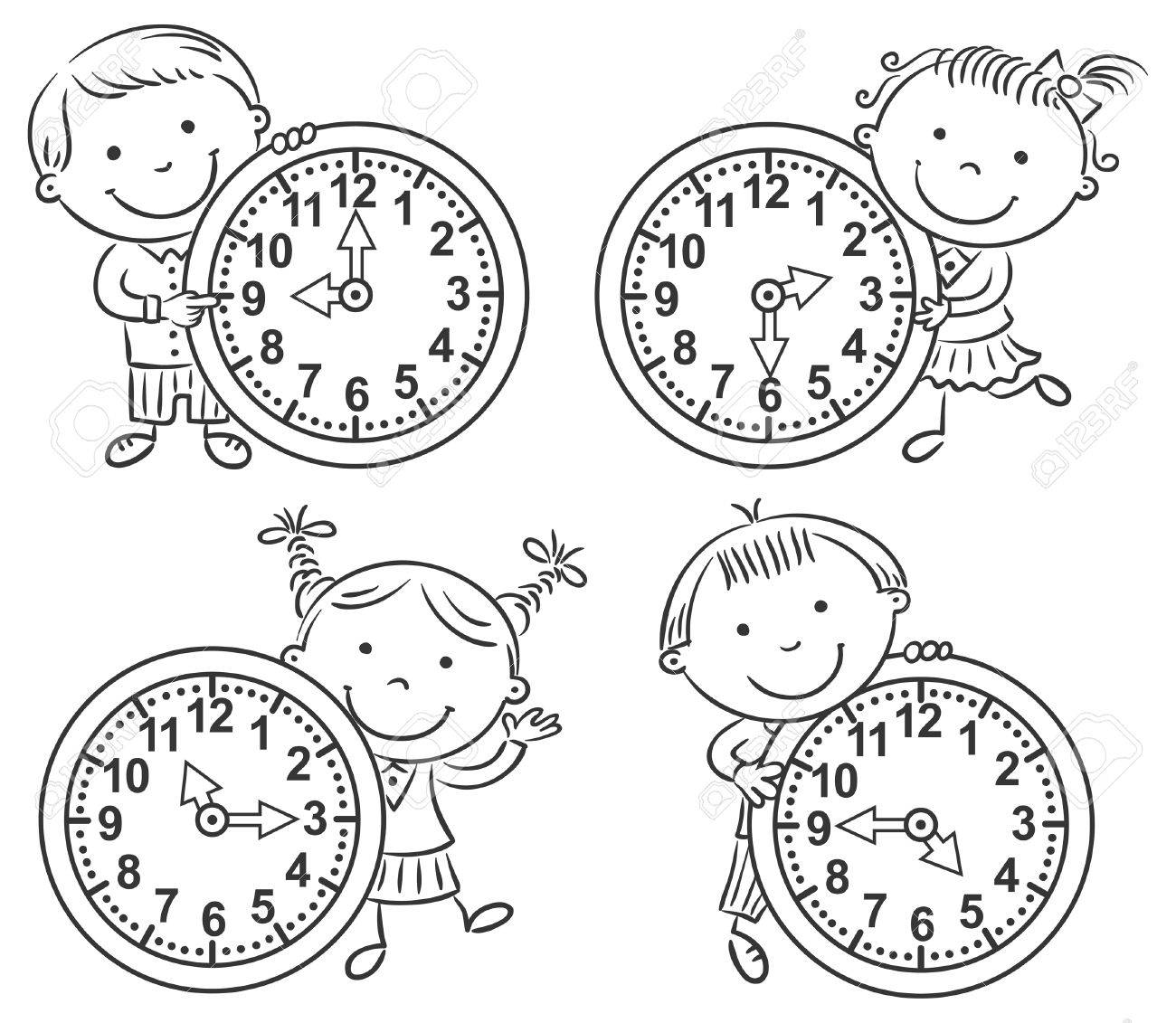 Little kids telling time set black and white outline stock vector 45964530