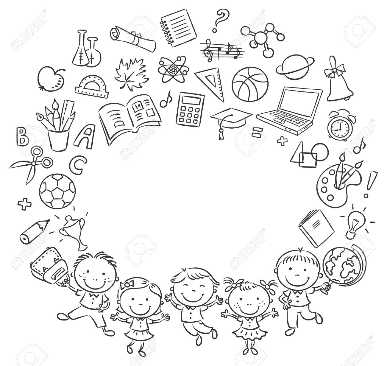 Happy Schoolkids With A Lot Of School Things As A Frame With ...