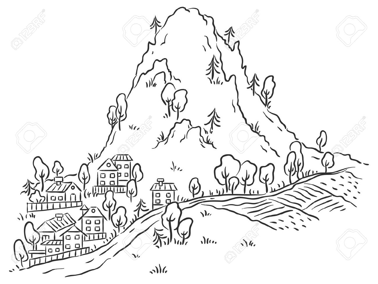 Cartoon Town At The Foot Of The Mountain Black And White Outline