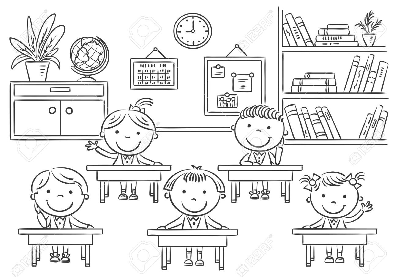 little cartoon kids in the classroom at the lesson, black and