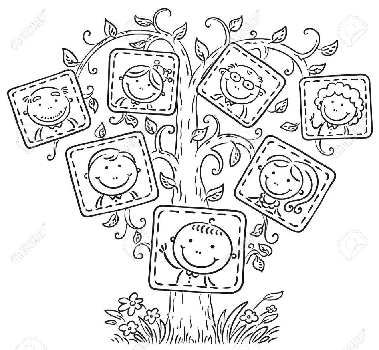 Happy Family Tree In Pictures Black And White Outline Royalty Free