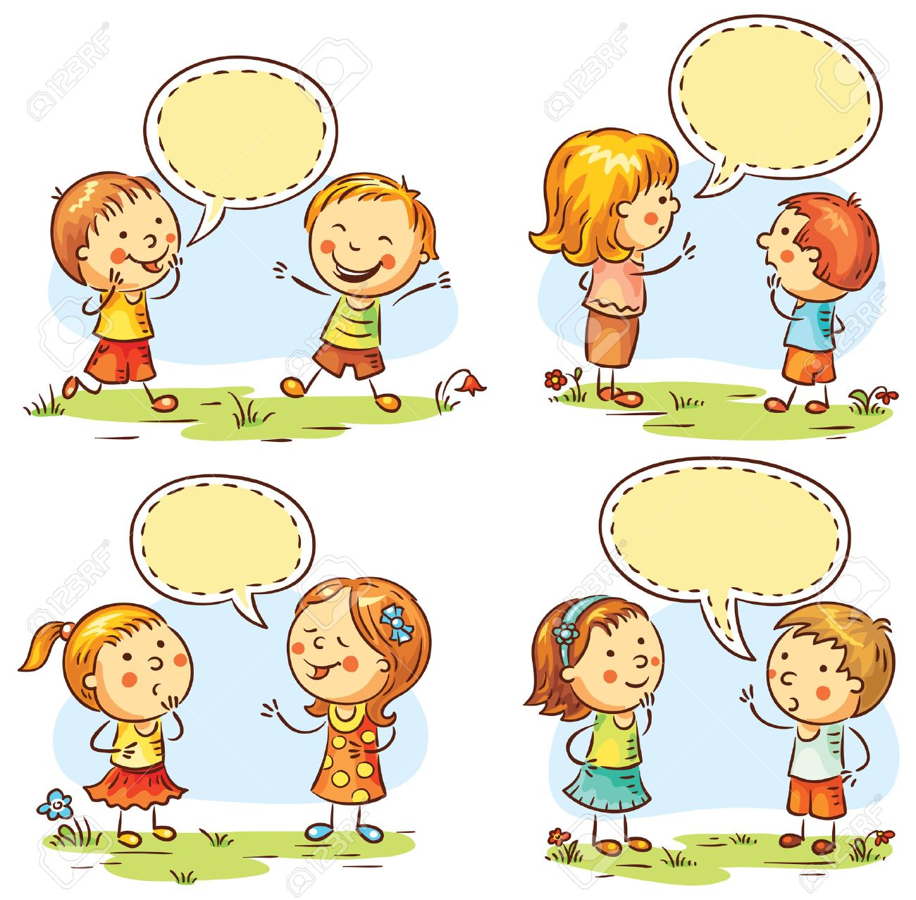 kids talking and showing different emotions, set of four scenes