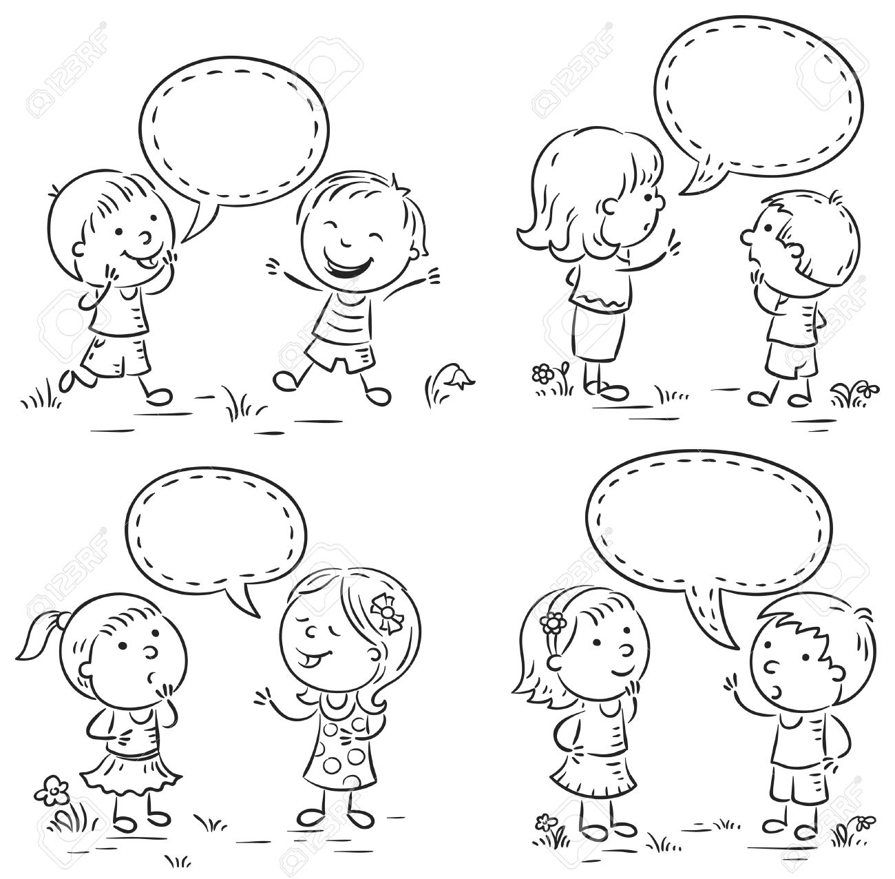 Felices Los Niños Hablando Y Mostrando Diferentes Emociones