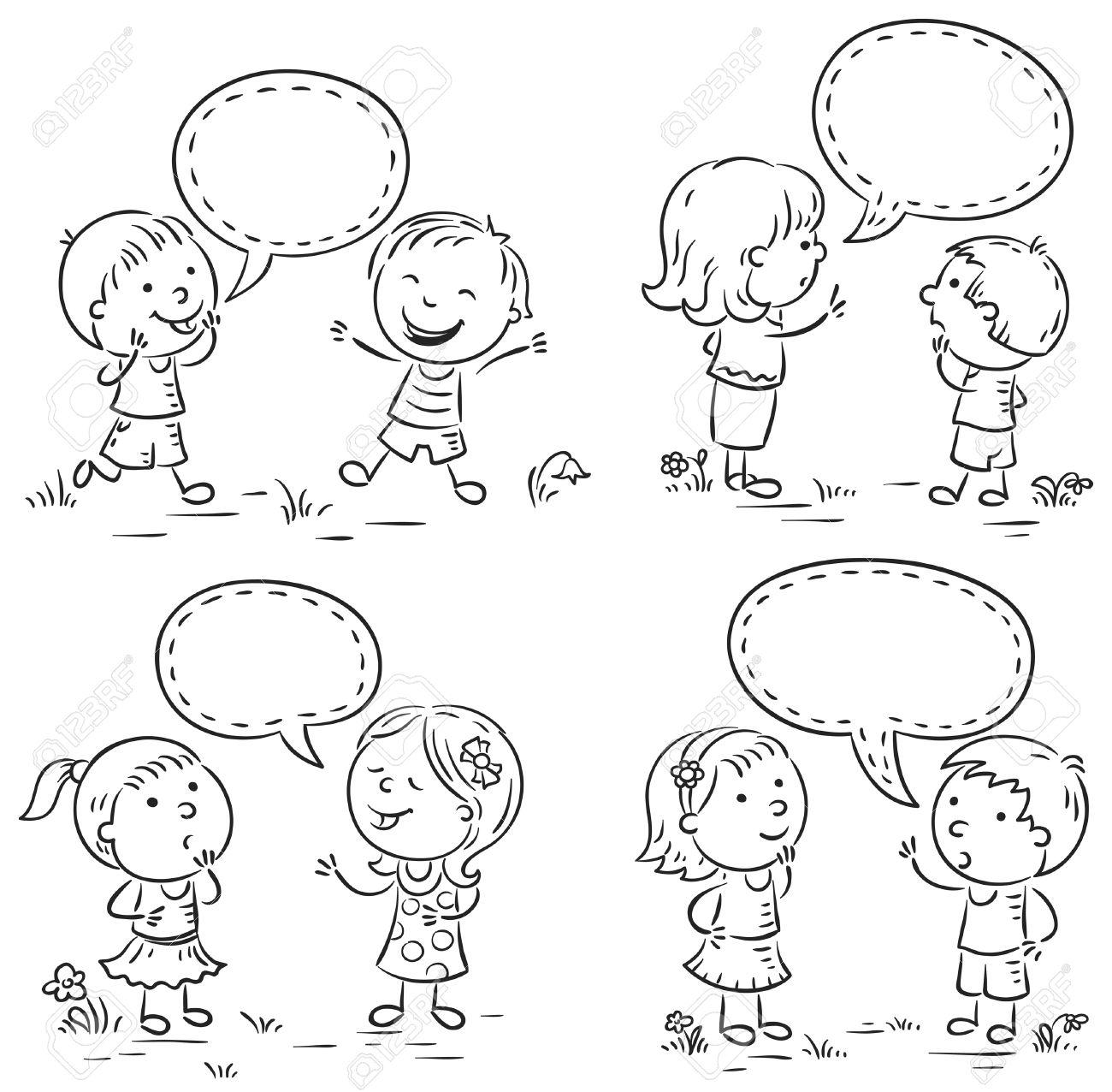 Glückliche Kinder Reden Und Zeigen Verschiedene Emotionen, Set Von ...