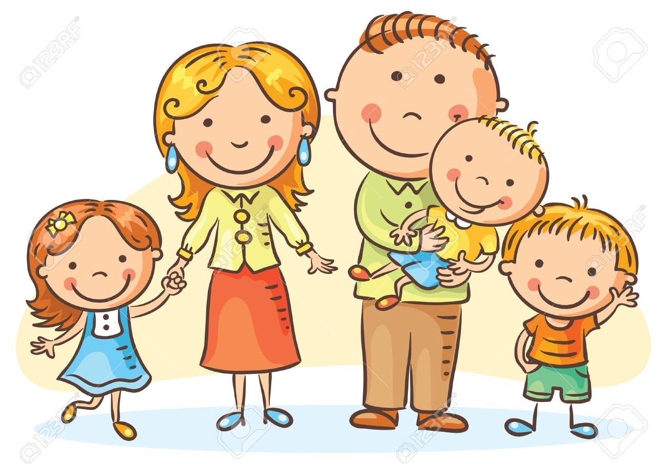 Resultat d'imatges de dibujo familia 3 hijos