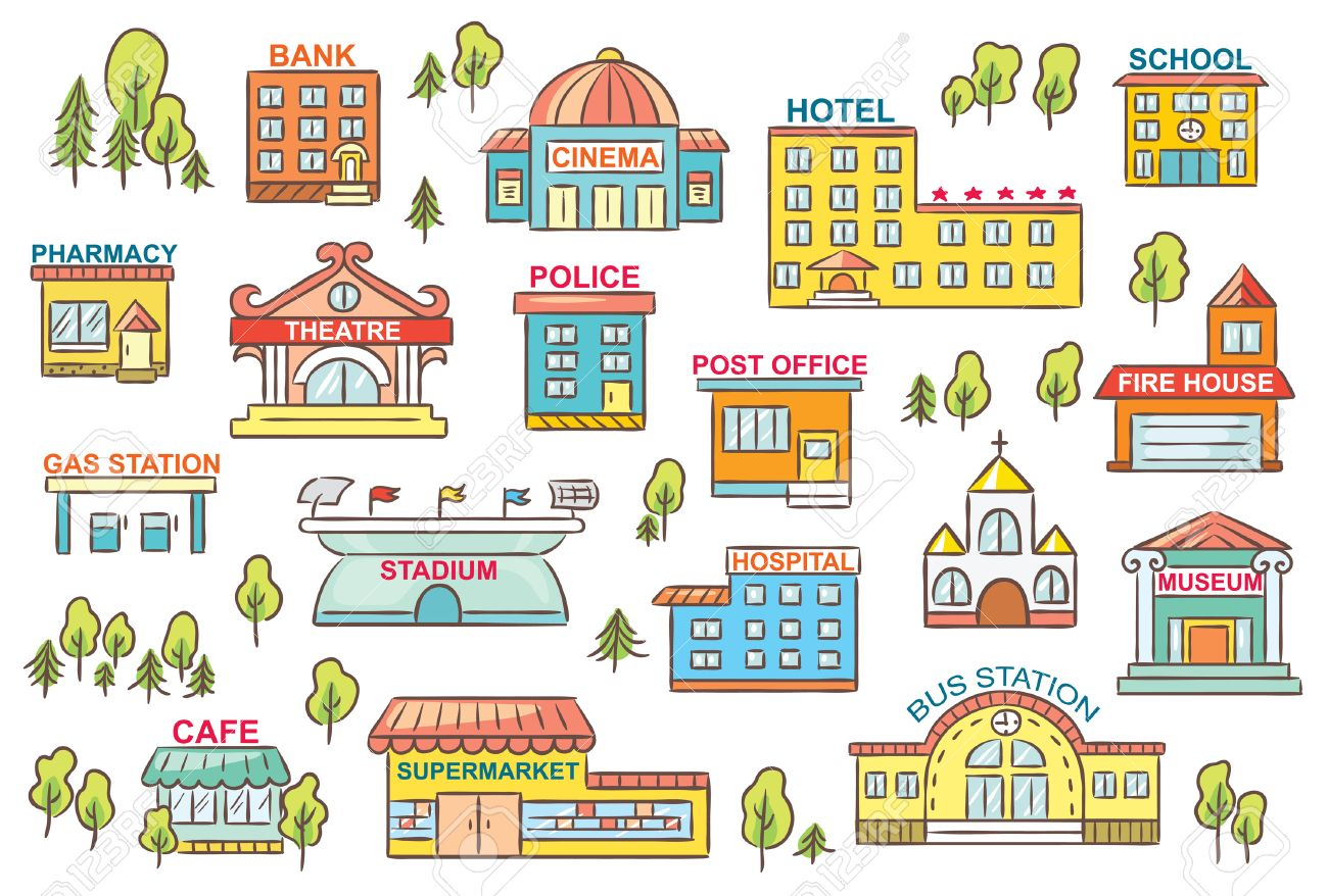 Satz Von Einfachen Bunten Cartoon-Stadt Gebäude Mit Zeichen ...
