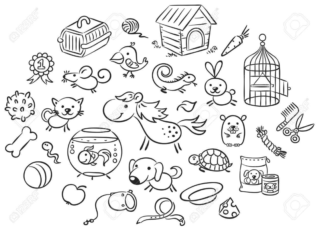 Set Of Black And White Cartoon Pet Animals With Accessories